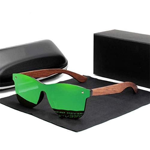 UKKD Gafas De Sol Polarizadas Muje Kingseven Natürliche Holz-Sonnenbrille-Männer Polarisierte Mode Sonnenbrillen Ursprüngliche Hölzerne Oculos De Sol Masculino,Grün Bubingaholz,Spanien