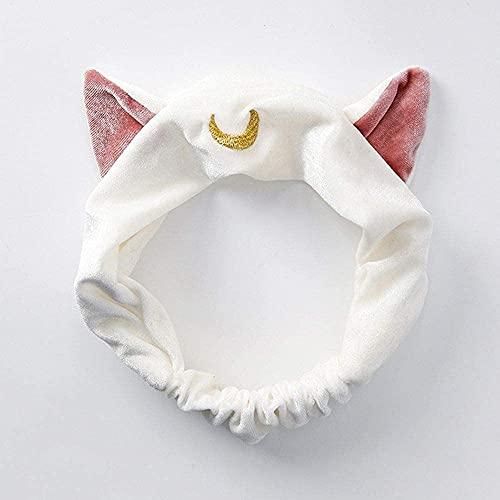 Ghlevo Lindas Bandas de la Cabeza de Felpa, Orejas de Gato Hairband Elástico Hair Band Band Band Band Makeup Face Sailor Moon Girls Mask Headwrap Seal Hairband (Azul Marino) (Color : White)