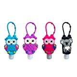 4Pcs Cartoon Kids Empty Travel Bottles Hand Sanitizer Holder with Silicone Case Keychain Carrier, Choeeu Leak Proof Refillable Portable Travel Containers for Liquid Soap, Lotion (Owl)