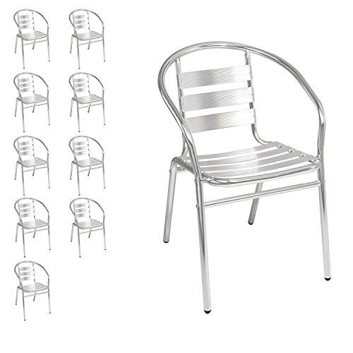 10 Stück Mojawo® stabile Aluminium Bistrostühle stapelbar Stapelstuhl Campingstuhl Gartenstuhl Küchenstuhl Alustuhl Balkonmöbel Gartensitzmöbel Silber