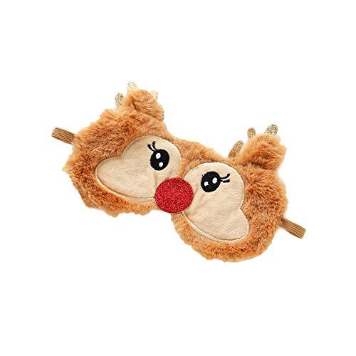 Demarkt Slaapmasker voor Kerstmis, met pluche voor slaap, reizen, ademende oogschaduw, zacht pluche cartoon slaapmasker voor kinderen en volwassenen, kan vermoeidheid van de ogen verlichten 19*9cm bruin