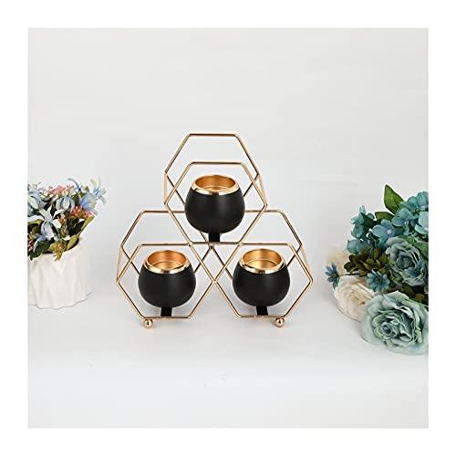 EPHNDX Retro Geometric Wrought Iron Aroma Candle Holder Table Center Decoration Glass Candle Holder Home Golden Romantic Decoration Suitable For Wedding Christmas (Color : Black)