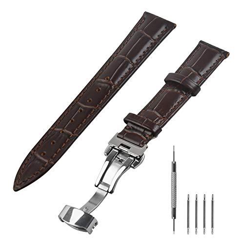 N\A Uhrenarmband 18mm, Leder, Lederarmband Uhrenband Ersatzband mit Schnellverschluss Spring Bar Federstege Federstegwerkzeug für Armbanduhr Herren Männer, Braun