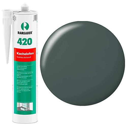 Ramsauer 420 Kachelofen - Profi Acryl Dichtstoff für Kachelofenfugen und Anschlussfugen - 310ml Kartusche (Anthrazit)