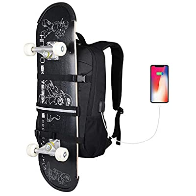Skateboard Backpack, Simbow Laptop Backpack Rucksack with USB Charging Port, Anti-Theft Lock, Water Resistant, Fits up to 15.6-17 Inch Laptop, for College School Business Travel Men Boy-Black