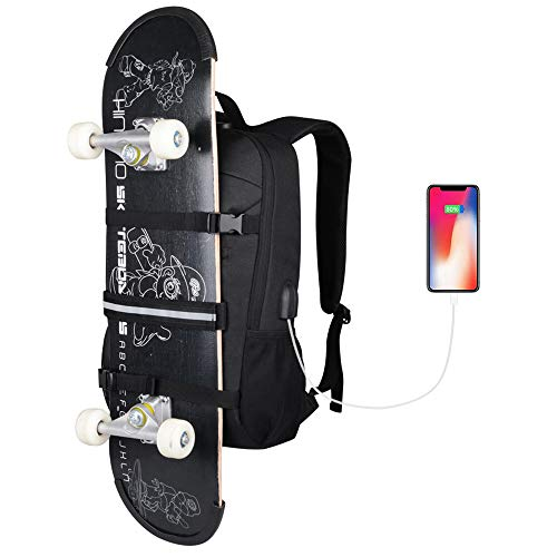 Skateboard Backpack, Simbow Laptop Backpack Rucksack with USB Charging Port, Anti-Theft Lock, Water Resistant, Fits up to 15.6-17 Inch Laptop, for College School Business Travel Men Boy (2020 New Black)