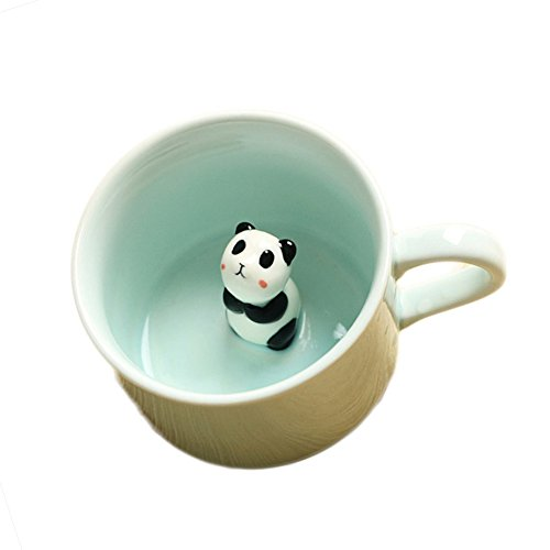 ZaH 3D Mug Animal Inside Cup Cartoon Ceramics Figurine Teacup for Boys Girls Kids Women Men Coffee Mug (8 oz Panda)
