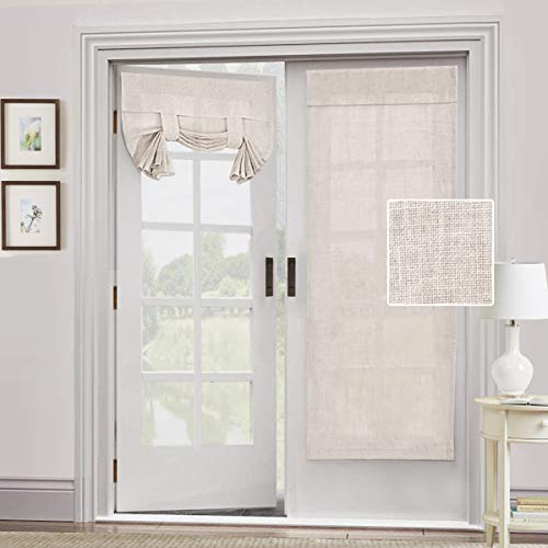 Natural Linen Blended Door Curtain - Privacy French Door Curtain Light Filgtering Tricia Window Door Curtain for Patio Door Sidelight Glass Door Blind Tie Up Shade, 26 x 68 inches,2 Panel, Natural