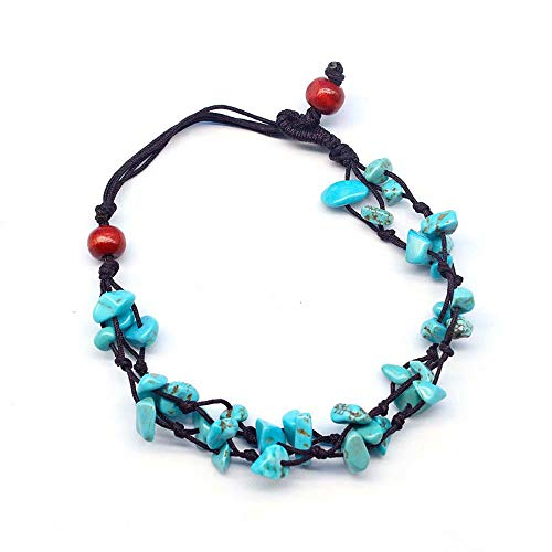 Mary Grace Design MGD, Blue Turquoise Color Bead Anklet. Beautiful 10 Inches Handmade Stone Anklet Made from Wax Cord. Fashion Jewelry for Women, Teens and Girls, JB-0123A
