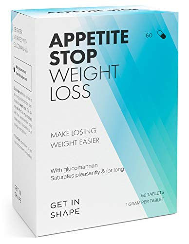 APPETITE STOP Appetite Suppressants for Weight Loss with 1000mg Glucomannan per Tablet | 60 Tablets by Get in Shape