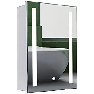 Warmiehomy Modern LED Bathroom Mirror Cabinet 600x450mm with Touch Switch Demister Pad Shaver Socket:Ege17ru