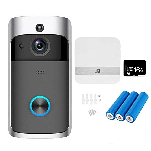 NANTING Timbre de Video inalámbrico- Video HD de 720p, conversación bidireccional, detección de Movimiento PIR de Gran Angular de visión Nocturna de 166 °, WiFi, Control App para iOS Android (Negro)