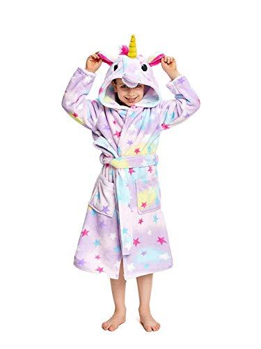 DRESHOW Suave Unicornio Albornoz con Capucha Ropa de Dormir - Regalos de Unicornio para Niñas