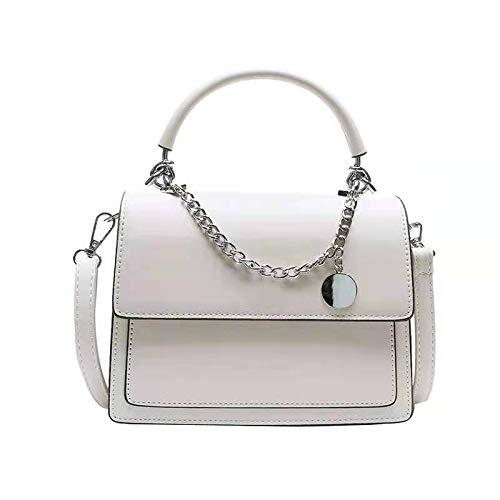FLLXSMFC Bolso para mujer, 21 x 16 x 8 cm, color beige, pequeño, cuadrado, con cadenas, casual, para todo el partido, bolso de hombro femenino   bolsas con asa superior