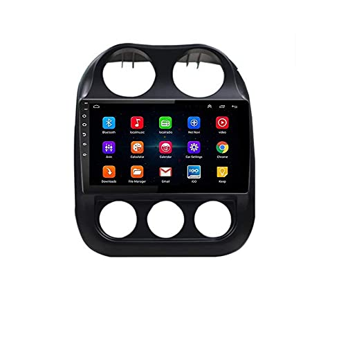 ZHFF Android 9.0 Car Stereo Radio Sat Nav Compatible con Doble DIN Jeep Compass 2010-2016 Navegación GPS Pantalla táctil de 9 Pulgadas Unidad Principal Reproductor Multimedia Receptor de Video WiFi