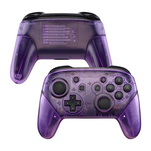 eXtremeRate Clear Atomic Puple Faceplate Backplate Handles for Nintendo Switch Pro Controller, DIY Replacement Grip Housing Shell Cover for Nintendo Switch Pro - Controller NOT Included