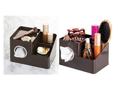 iDesign InterDesign Facial Tissue Cover/Holder and Storage Caddy for Bathroom Vanity Countertops – Dark Brown Boutique Box with Organizer, 21.3 x 15.2 x 13.3 cm, Bronze