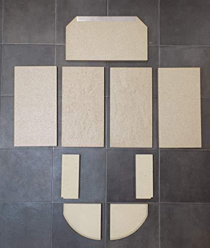 Feuerraumauskleidung für den Attika Bando Kaminofen - Vermiculite + Schamotte - 9-teilig