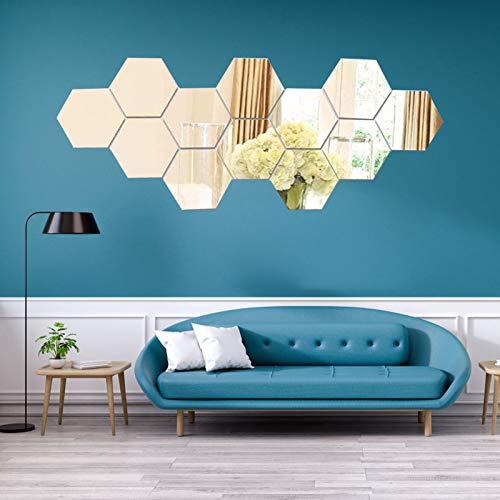 Spiegel Wandaufkleber, 3D Hexagon Spiegel Fliesen Aufkleber Dekoration Sechseckiger Spiegel für Wandbild Zuhause Wohnzimmer Schlafzimmer, 12 Stück