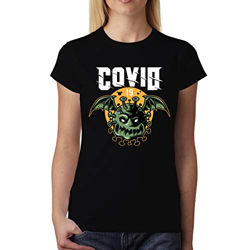 avocadoWEAR Coronavirus Covid-19 Pipistrello Donna T-Shirt Nero XS