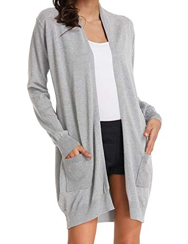 Womens Long Sleeve Open Front Long Cardigan Shrugs with Pockets Light Gray L