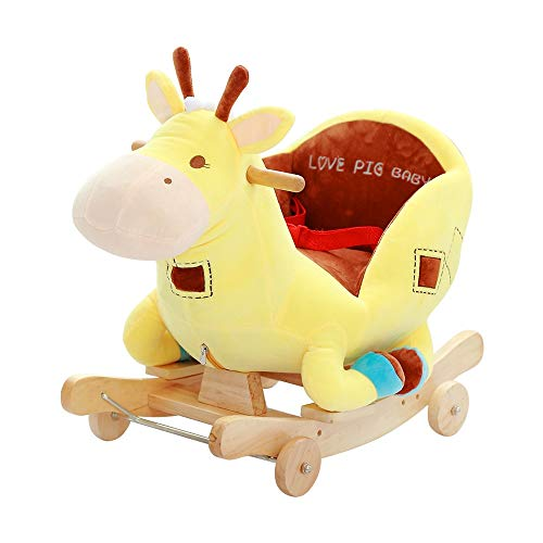 Kibten Baby Rocking Horse with Chair, Reindeer Plush Stuffed Rocking Pony, Wooden Deer Rocker Animal Indoor Outdoor Kids Ride On Toy Gift for 6 Months and Up Toddlers Girls Boys (Color : Yellow)