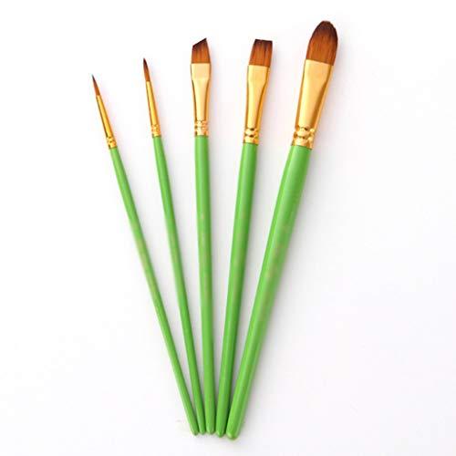 LXDWJ 5 unids/Lote Acuarela Pincel Conjunto Manera de Madera Nylon Pinte Brush Pen Professional Pintura al óleo Herramienta de Dibujo Suministros de Arte (Color : A)