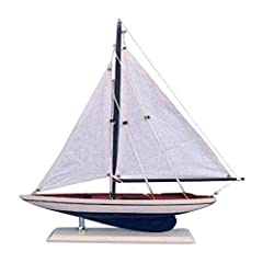 Handcrafted solid wood hull, masts and stand with metal supports Timeless nautical colors - Navy blue and white Largest sailboat selection available - We offer over 150 unique model sailboats Featured in Sept 2011 Brides magazine - Excellent wedding ...