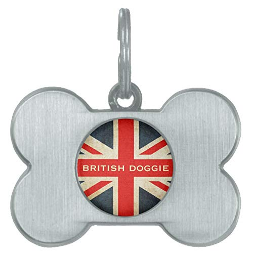 Stainless Steel Pet ID Tags, British Doggie Union Jack Posh ID Tag, Dog Tags, Cat Tags, Bone Shaped ID Tag for Dogs and Cat