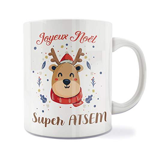 Mug | Tasse | Café | Thé | Petit-déjeuner | Vaisselle | Céramique | Original | Imprimé | Message | Fêtes | Idée cadeau | Renne de Noël - Joyeux Noël Super ATSEM