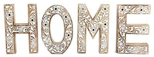 Limewashed Houten Bloem Spiegel Ontwerp Vrijstaande Teken Letters Ornament Blok Woord Art Decoratie ~ Thuis