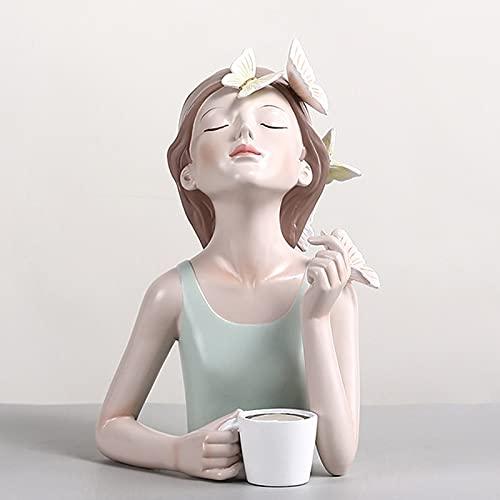 SUHETI Resina Chica Mirando hacia Arriba con Cuenco Llaves, Decoración de Muebles para el Hogar Escritorio, para Guardar Llaves y Joyas,Cup