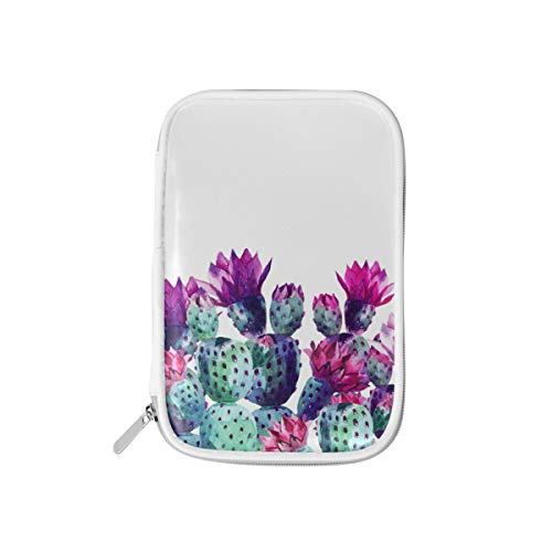 MERRYSUGAR Big Pencil Case Watercolor Cactus White Cute Pencil Pouch Bag Pencil Holder with Zipper for Girls Boys School Office Supplies Makeup Pourch PU Leather