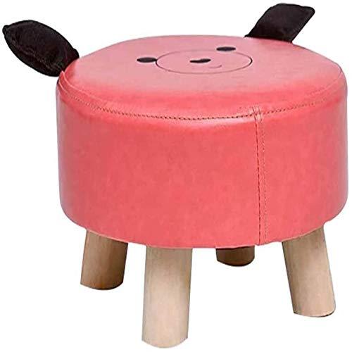 ZCRR Taburete De Pie Otomanos Taburete De Pie Redondo, Reposapiés Al Aire Libre, Tela De PU Marco De Madera Lindo Animal De Dibujos Animados De Dibujos Animados para Niños(Color:Rosa)