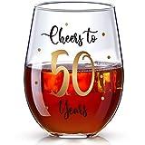 Bicchiere da Vino Senza Stelo per 50 ° Compleanno, Bicchiere da Vino d'Oro Cheers to 50 Years per Uomini Donne 50 ° di Compleanno Ufficio, Anniversario Matrimonio, 17 Once Senza Gambo