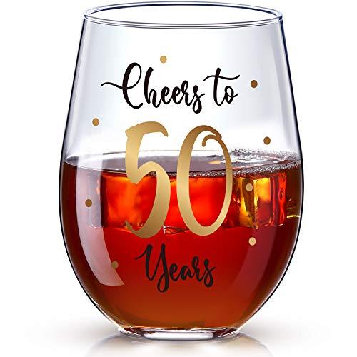 Copa de Vino sin Tallo de 50 Cumpleaños, Regalo de Copa de Vino de Cheers to 50 Years para Hombres Mujeres Decoraciones de Fiesta de Aniversario Boda 50 Cumpleaños, 17 oz sin Tallo