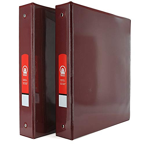 """1 1/2"""" 3-Ring View Binder with 2-Pockets - Available in Burgundy - Great for School, Home, & Office (2-Pack) - by Emraw"""