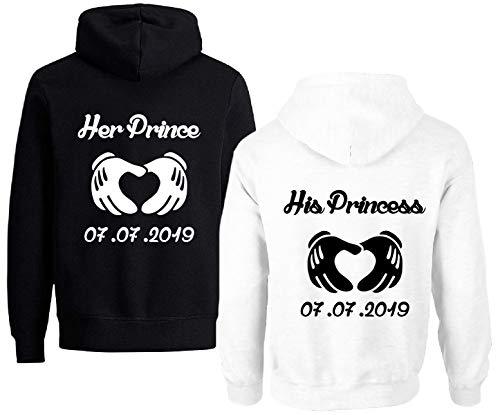 TISFAN Couple Pärchen Pullover Partner Hoodie mit Wunschdatum Paar Sweatshirt King Queen Kapuzenpullover Paar Pulli 2 Stücke(Schwarz+Weiß,Prince-M+Princess-XL)