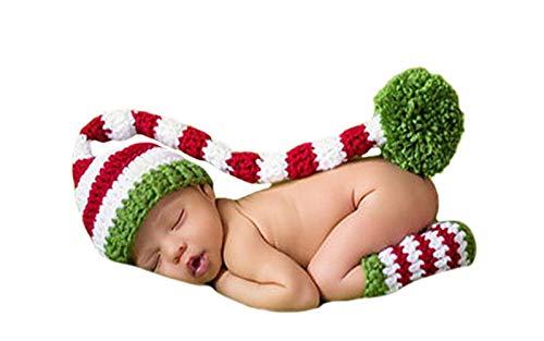 DELEY Bébé au Crochet Tricot de Noël, Elfe de la Longue Queue Pompon Chapeau Costume de Bébé de Vêtements de Photo Prop de 0 à 6 Mois