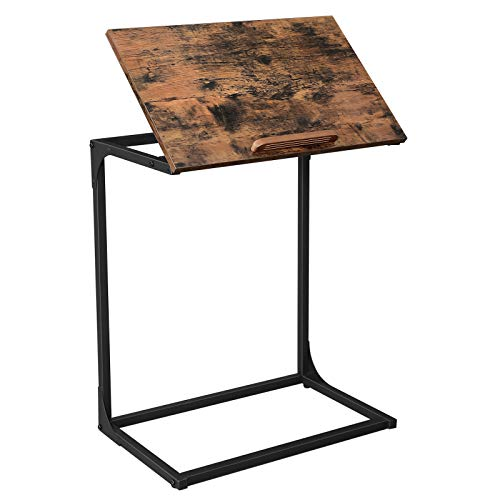 VASAGLE ALINRU Side Table, Laptop Table, End Table with Tilting Top, Steel Frame, for Living Room, Industrial Style, Rustic Brown and Black ULNT057B01