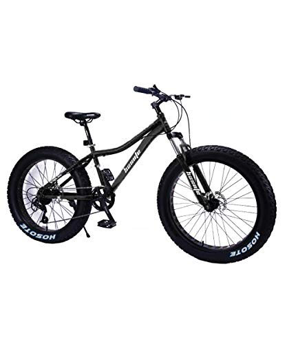 Fat Tire Mens Mountain Bikes, 26 inch Wheels 7/21/27 Speed Snow Bike Beach Bike MTB, High-Tensile Carbon Steel Frame Adult Bike, Double Suspension Double Disc Brake