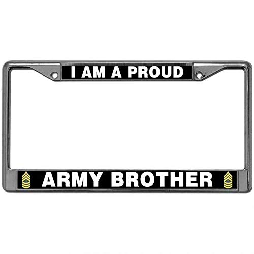 Supers Digital US Army Quotes License Plate Cover Tag Waterproof for US Vehicles Aluminum Metal License Plate Frame Proud Army Brother License Plate Frame