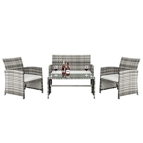 Muebles de patio de liquidación, El conjunto de muebles de patio de 4 piezas incluye 1 asiento doble 2 Sofá de asiento individual 1 mesa de centro EDUCACIÓN FÍSICA Conjuntos de muebles de Patio Grey G