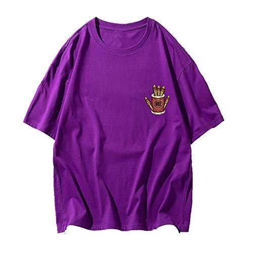 NOBRAND - Camiseta de manga corta para hombre (cuello redondo, manga corta, suelta, manga corta, para estudiantes, manga corta) Morado violeta 4XL