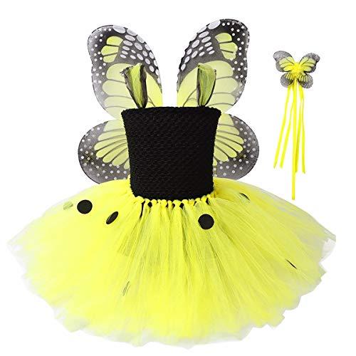 CHICTRY Abito Cerimonia da Elegante Damigella Festa Vestito Principessa Bambina Costume Fatina Fiore Ali Farfalla Bimba Carnevale Bacchetta Magica Fata Tutu Ballerina Giallo 3-4 Anni