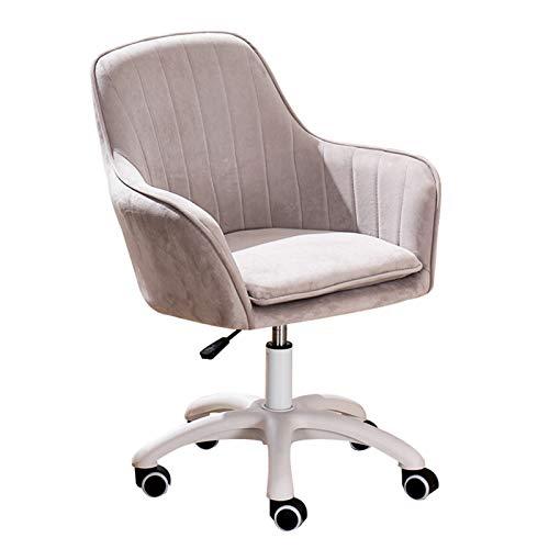Silla giratoria con brazos Silla ergonómica de escritorio para computadora, silla de escritorio tapizada en terciopelo con ruedas Silla giratoria de 360 ° ajustable en altura para sala de estudio
