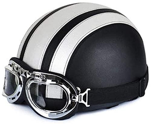 HHORB Medio Casco De Motocicleta, Casco Retro Medio Casco Casco De ProteccióN Aprobado por Dot Motocicleta, para Hombres Adultos Mujeres Crucero HelicóPtero Ciclomotor Carretera (Size : C)