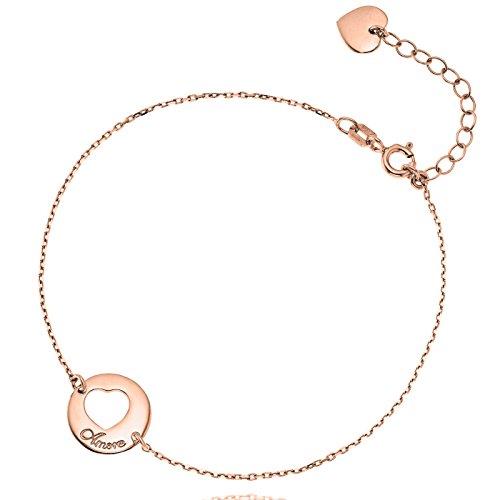 LillyMarie Mujer Niña pulsera de plata Plata 925 Colgante corazón redondo oro...