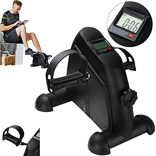 SWANEW Mini bicicleta estática con pantalla LCD, entrenamiento de brazos y piernas, entrenamiento de fuerza muscular, entrenamiento de resistencia, ideal para personas mayores, color negro