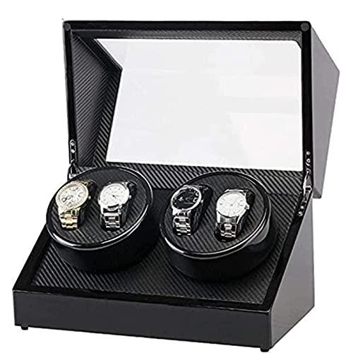 KMDJ Relojes Box Watch Mostrar Cuadro de Almacenamiento Coctelera eléctrica Pintura Negra Doble Cabeza 4 Posición Fibra de Carbono Caja de Motor eléctrico Caja de relojería de bobinado automático